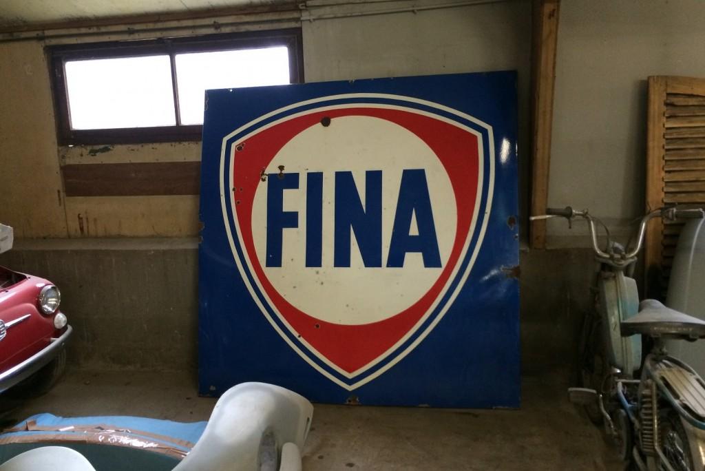 Très grande plaque émaillée FINA